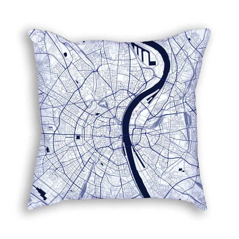 Cologne Germany City Map Art Decorative Throw Pillow