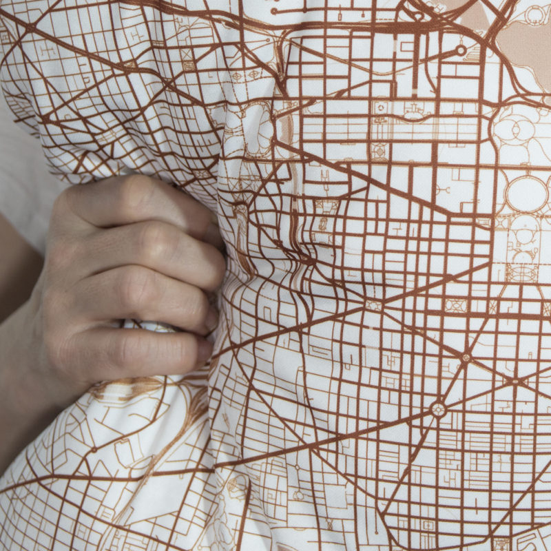 Copper City Map Pillow Closeup