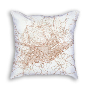 Cuenca Ecuador City Map Art Decorative Throw Pillow