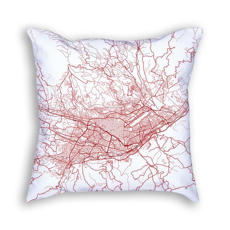 Cuenca Ecuador City Map Art Decorative Throw Pillow