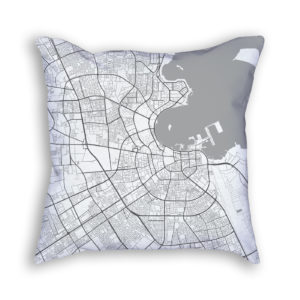 Doha Qatar City Map Art Decorative Throw Pillow