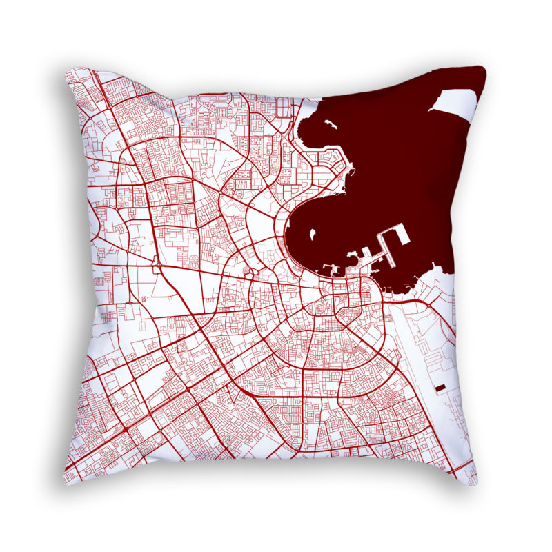 Doha Qatar City Map Art Decorative Throw Pillow