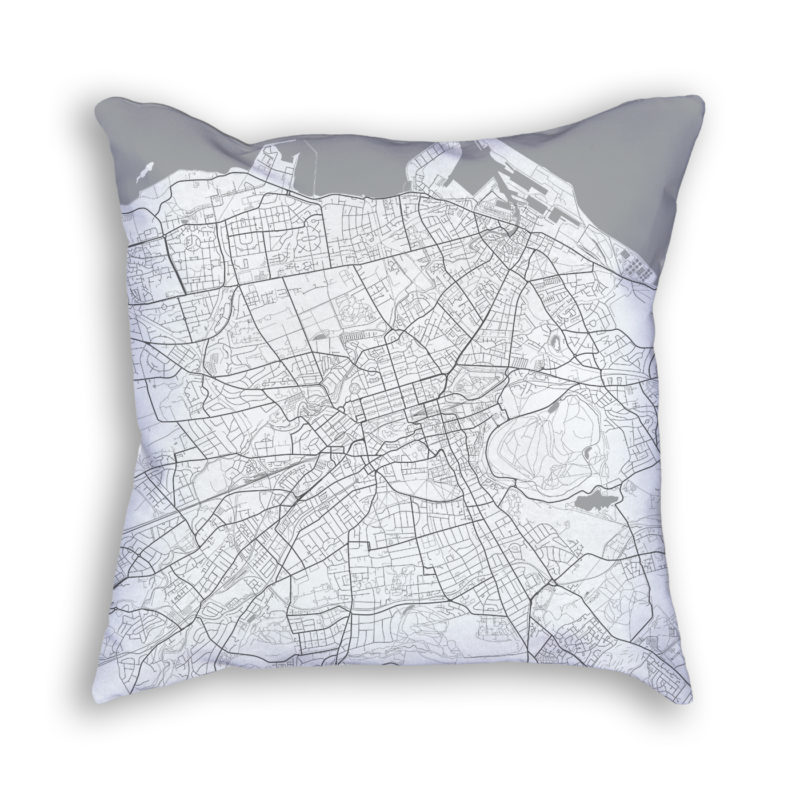 Edinburgh Scotland City Map Art Decorative Throw Pillow