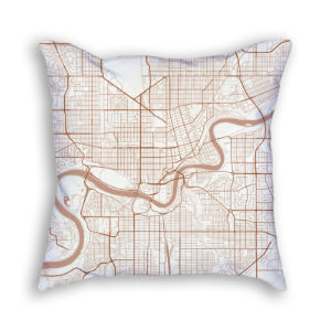 Edmonton Canada City Map Art Decorative Throw Pillow