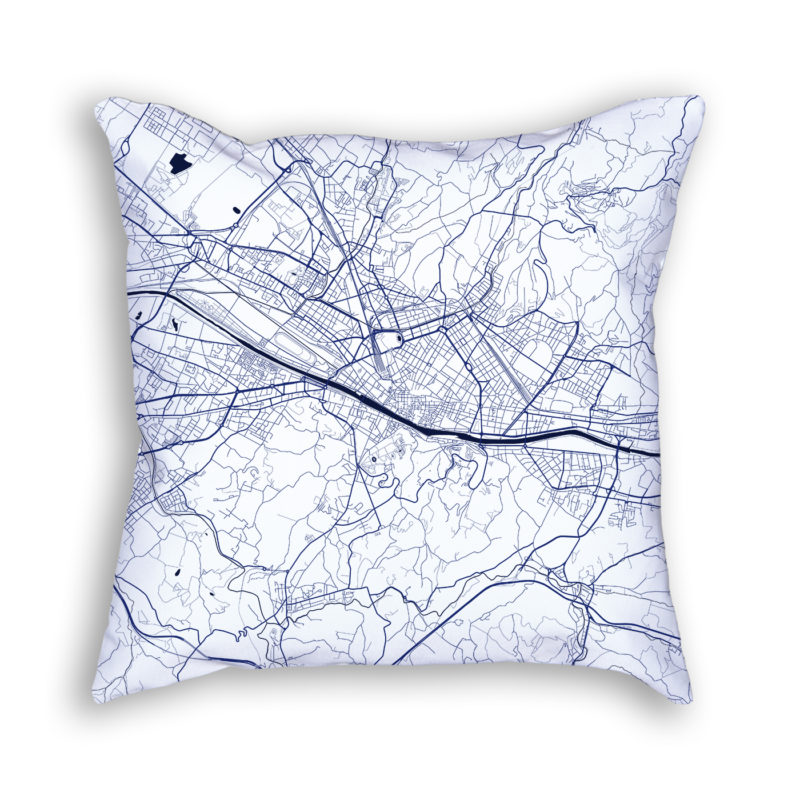 Florence Italy City Map Art Decorative Throw Pillow
