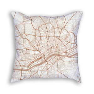 Frankfurt Germany City Map Art Decorative Throw Pillow