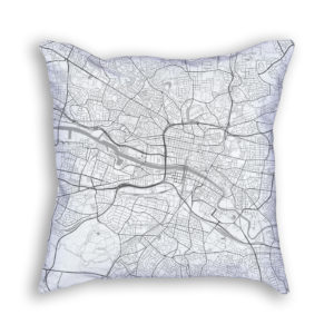 Glasgow Scotland City Map Art Decorative Throw Pillow