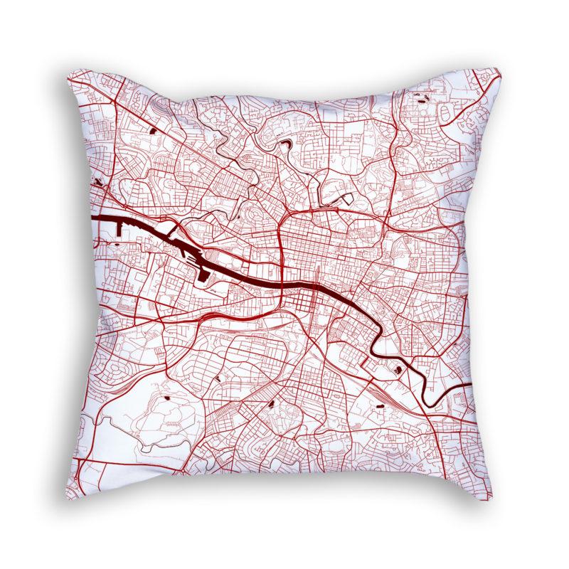 Glasgow Scotland City Map Art Decorative Throw Pillow
