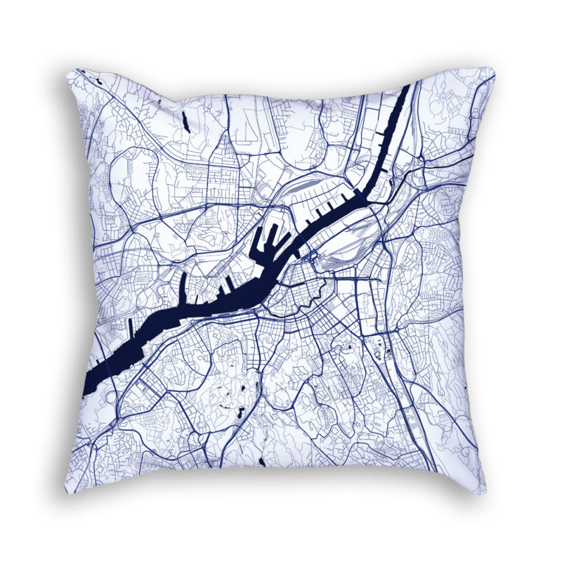 Gothenburg Sweden City Map Art Decorative Throw Pillow