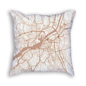 Gothenburg Sweden City Map Art Decorative Throw Pillow