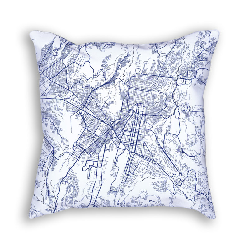 Guatemala City Guatemala City Map Art Decorative Throw Pillow
