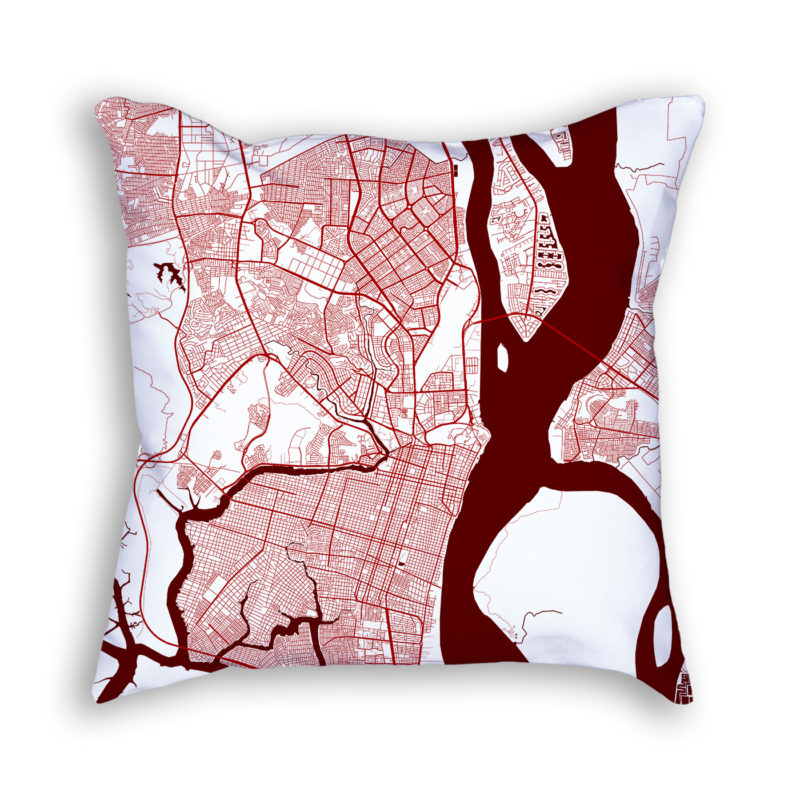 Guayaquil Ecuador City Map Art Decorative Throw Pillow