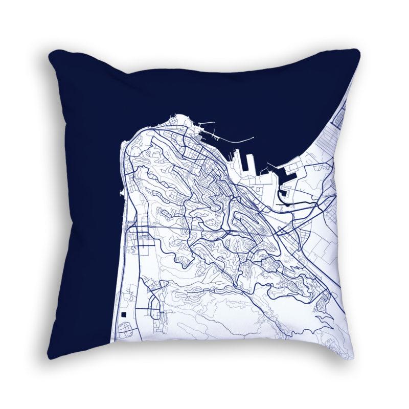 Haifa Israel City Map Art Decorative Throw Pillow