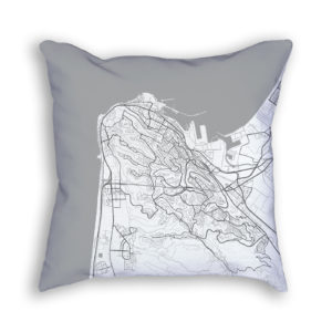 Haifa Israel City Map Art Decorative Throw Pillow
