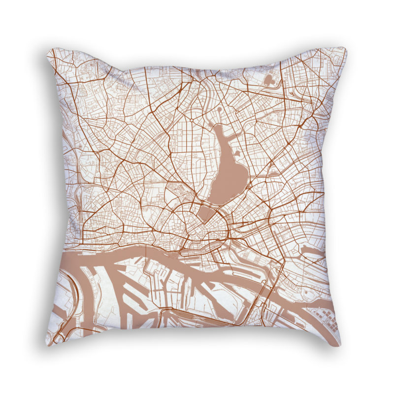 Hamburg Germany City Map Art Decorative Throw Pillow
