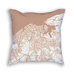Havana Cuba City Map Art Decorative Throw Pillow