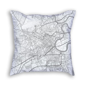 Ho Chi Minh City Vietnam City Map Art Decorative Throw Pillow