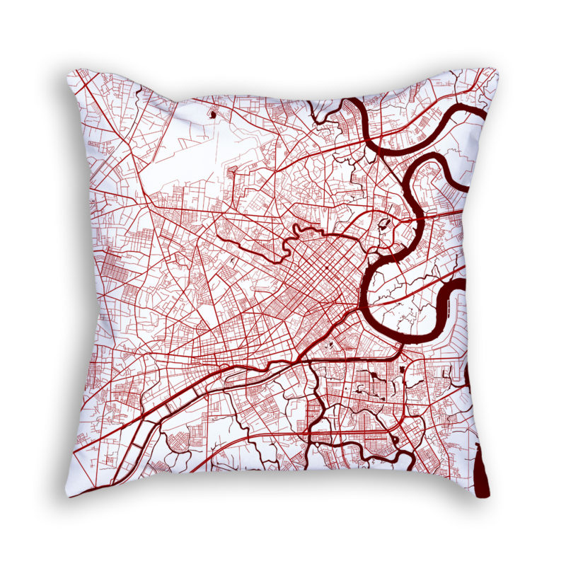 Ho Chi Minh City Vietnam City Map Art Decorative Throw Pillow