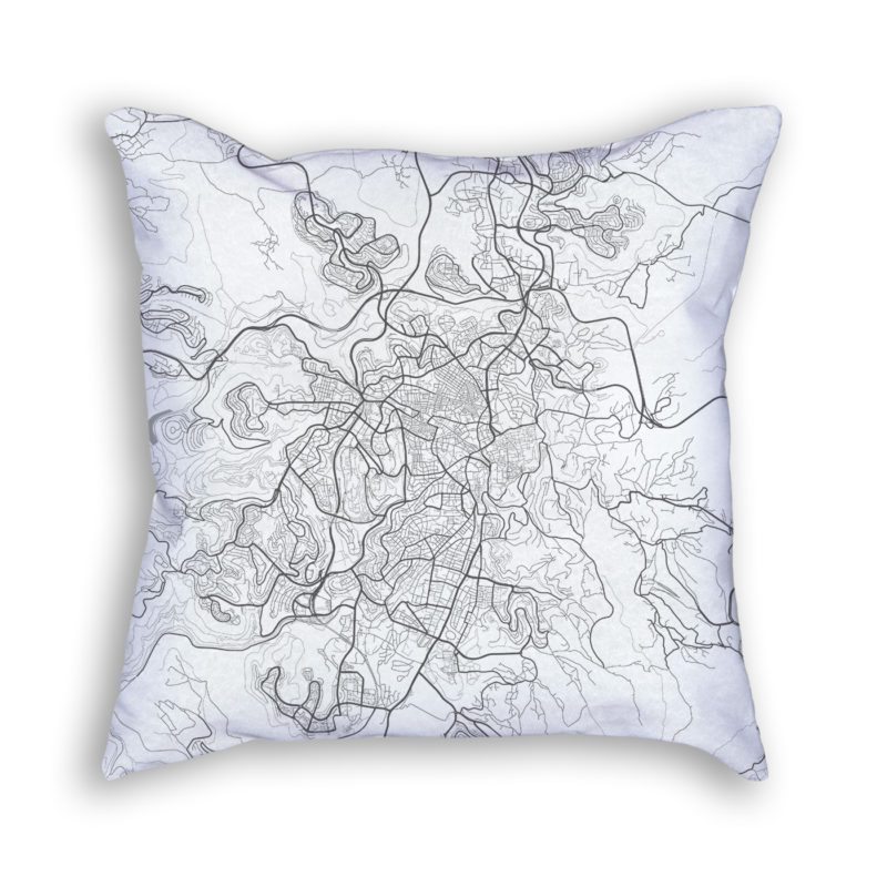 Jerusalem Israel City Map Art Decorative Throw Pillow