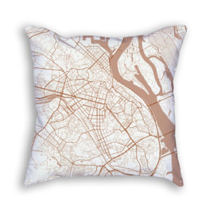 Kiev Ukraine City Map Art Decorative Throw Pillow