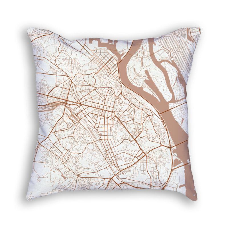 Kiev Ukraine City Map Art Decorative Throw Pillow