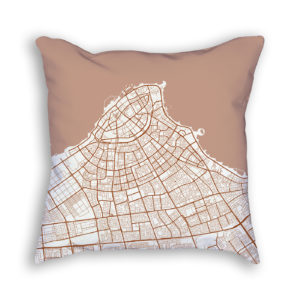 Kuwait City Kuwait City Map Art Decorative Throw Pillow