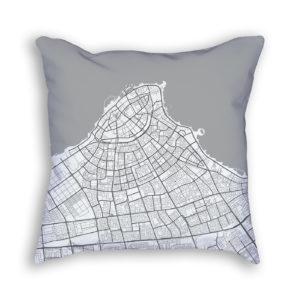 Kuwait City Kuwait City Map Art Decorative Throw Pillow