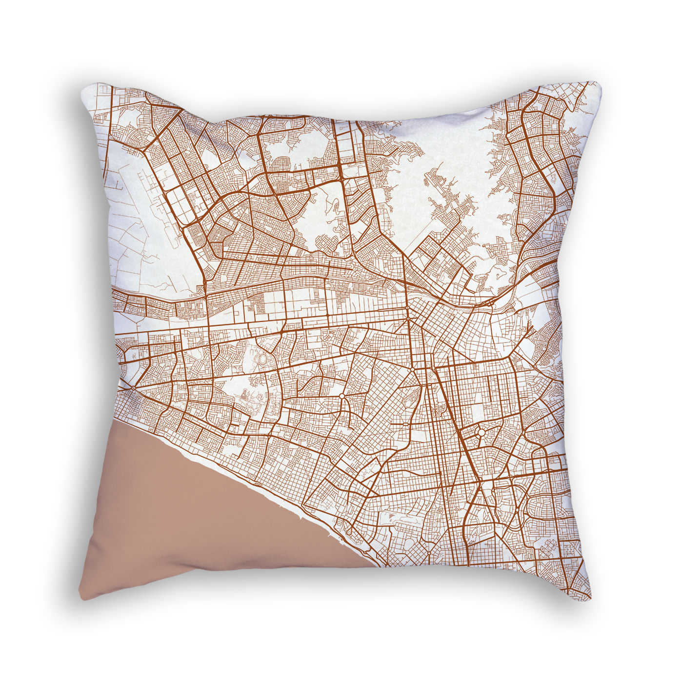 Lima Peru City Map Art Decorative Throw Pillow