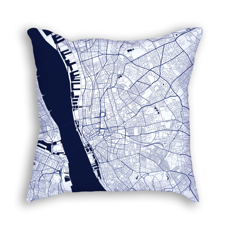 Liverpool England City Map Art Decorative Throw Pillow