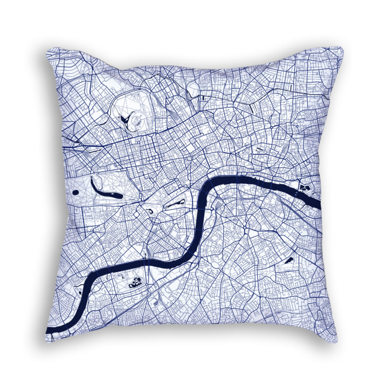 London England City Map Art Decorative Throw Pillow