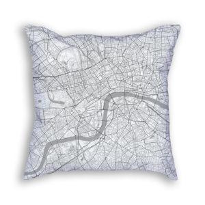 London England City Map Art Decorative Throw Pillow