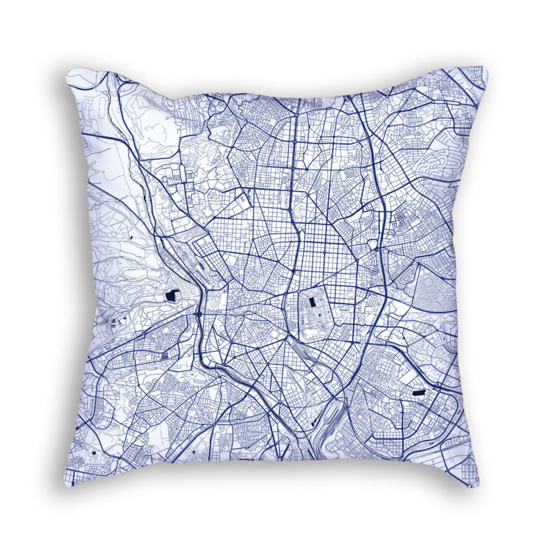 Madrid Spain City Map Art Decorative Throw Pillow