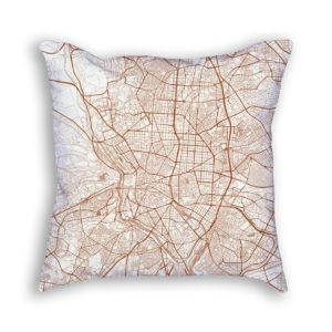 Madrid Spain City Map Art Decorative Throw Pillow