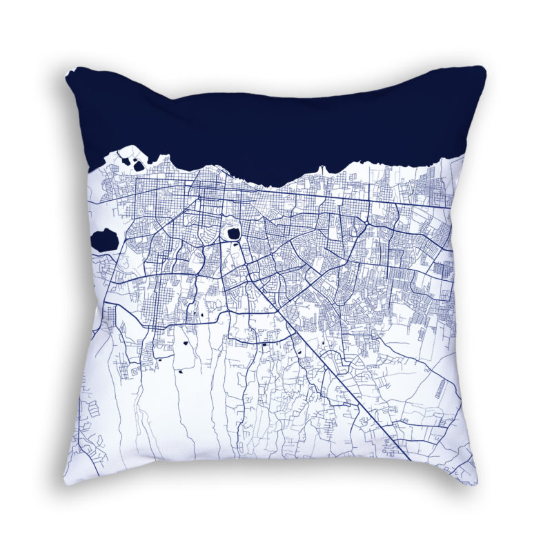 Managua Nicaragua City Map Art Decorative Throw Pillow