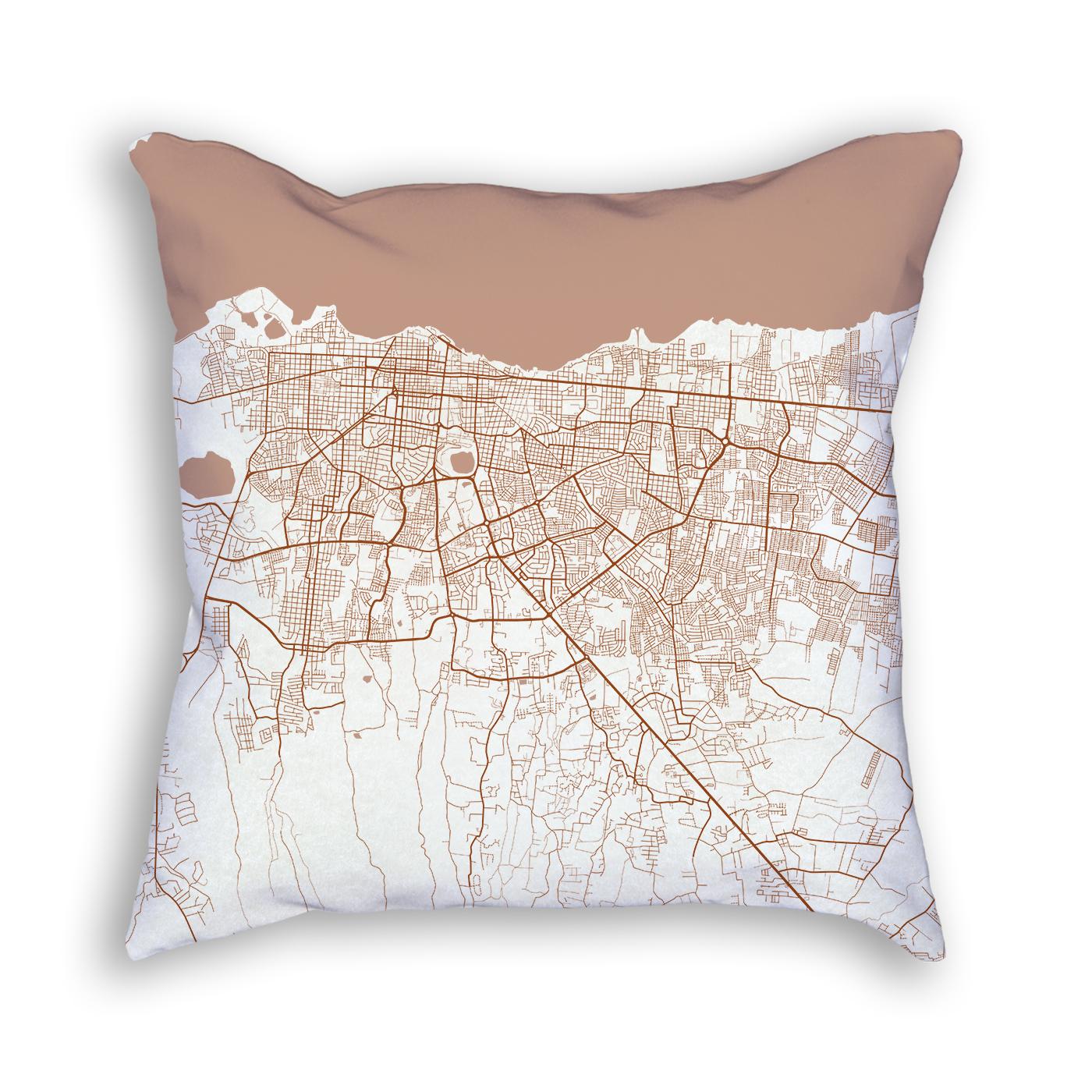 Managua Nicaragua City Map Art Decorative Throw Pillow