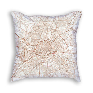 Manchester England City Map Art Decorative Throw Pillow