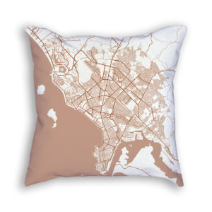 Mazatlan Mexico City Map Art Decorative Throw Pillow