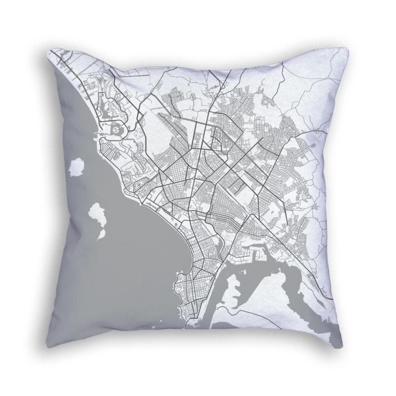 Mazatlan Mexico City Map Art Decorative Throw Pillow