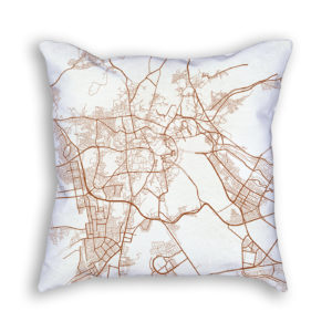 Mecca Saudi Arabia City Map Art Decorative Throw Pillow