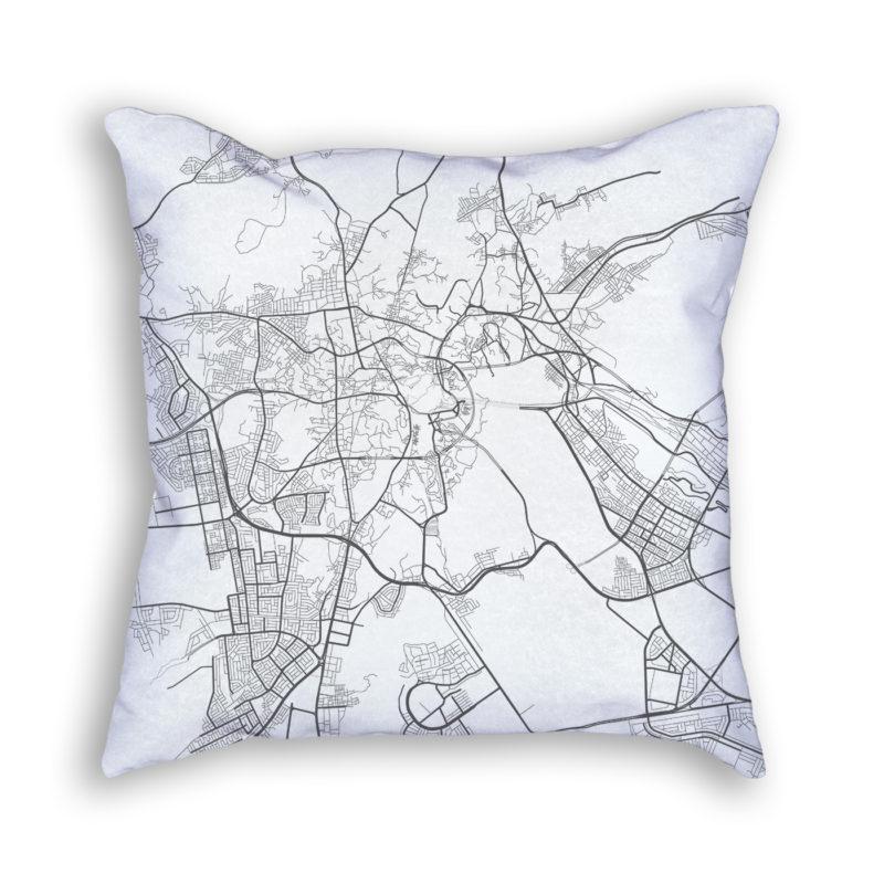 Mecca Saudi Arabia City Map Art Decorative Throw Pillow