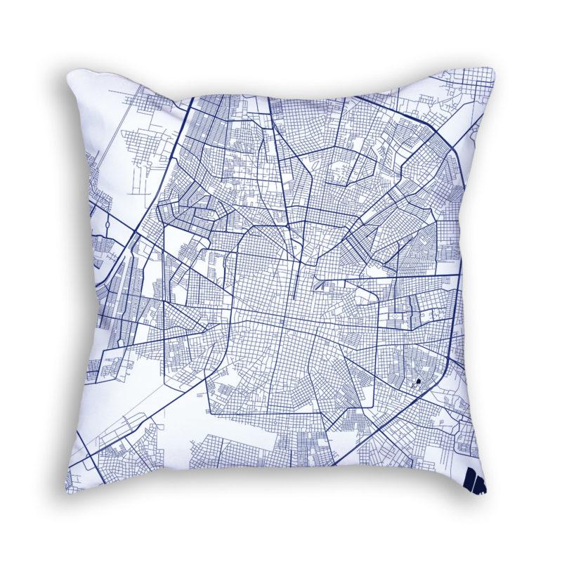 Merida Mexico City Map Art Decorative Throw Pillow
