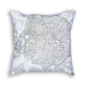 Merida Mexico City Map Art Decorative Throw Pillow