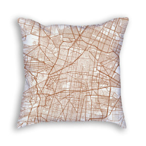 Mexico City Mexico City Map Art Decorative Throw Pillow
