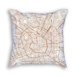 Milan Italy City Map Art Decorative Throw Pillow