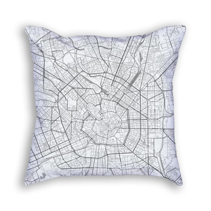 Milan Italy City Map Art Decorative Throw Pillow