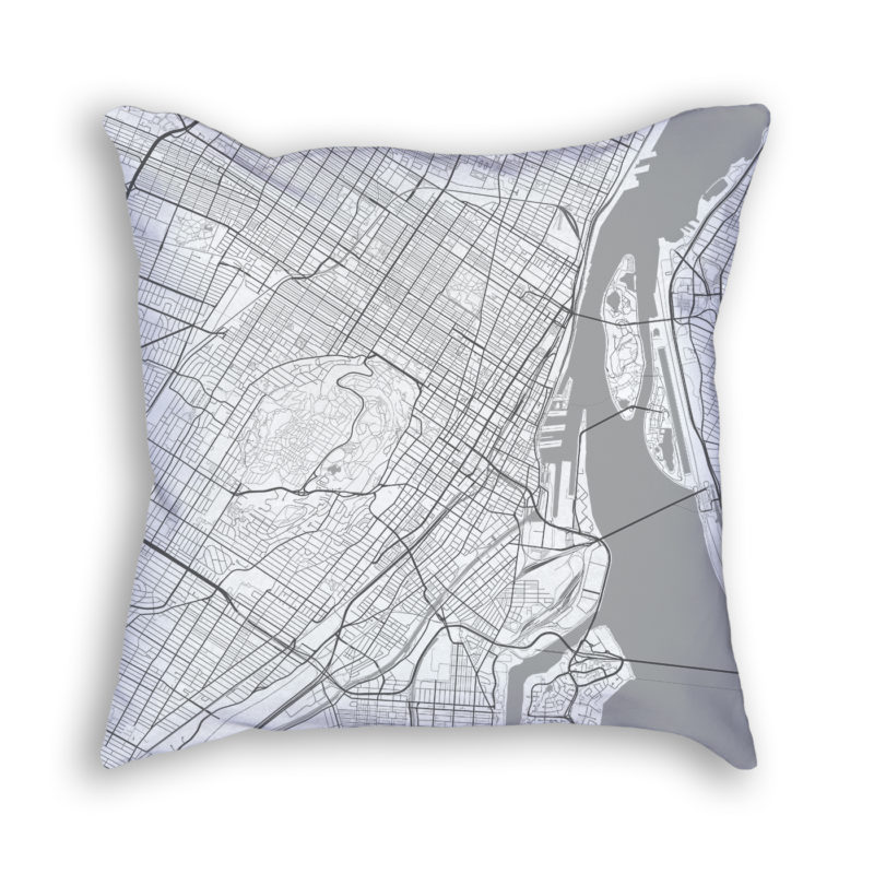 Montreal Canada City Map Art Decorative Throw Pillow