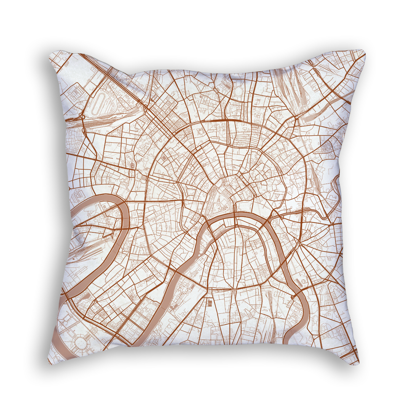 Moscow Russia City Map Art Decorative Throw Pillow