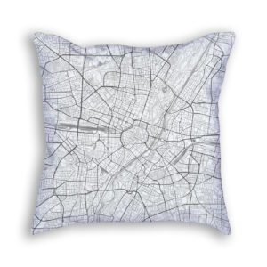 Munich Germany City Map Art Decorative Throw Pillow