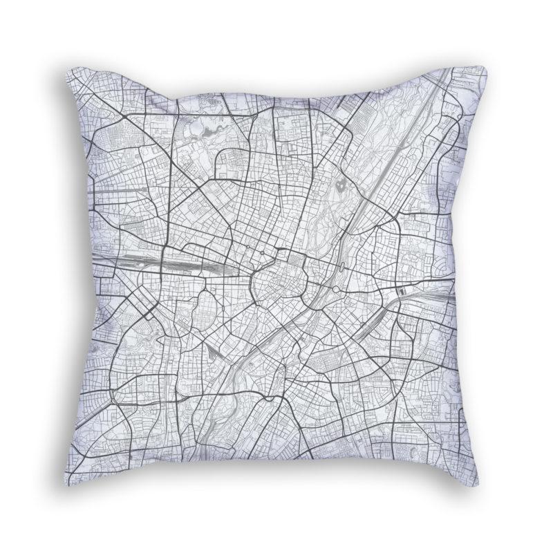 Munich Germany City Map Art Decorative Throw Pillow