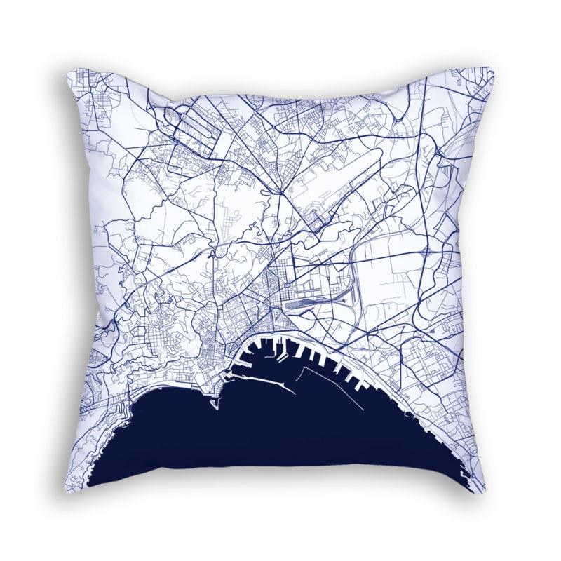 Naples Italy City Map Art Decorative Throw Pillow